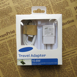 Wholesale Hot Box For Cable - Hot 2in1 Charger Micro USB Sync Data Cable + US   EU Wall Travel Charger For Samsung Galaxy Note 2 S2 S3 S4 with retail box DHL free