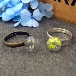 Wholesale Glass Globe Ball Ring Wholesale - 10sets lot 10mm empty glass globe ball bottle 3mm mouth with ring base set glass vial pendant charms glass dome cover Christmas present