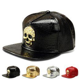 Wholesale Skull Rivets For Leather - Snapback Caps Punk Hip Hop Cap Golden Skull Rivet Logo PU Leather Visor Baseball Cap Adjustable Hats For Men Women Gorras Planas