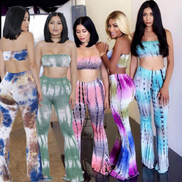 Wholesale Skinny Tie Set - tie dye print 5 colors S-XL 2016 summer women fashion two pieces sets sleeveless long wide leg pants sexy club party sets XD850