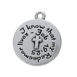 Wholesale Pendant Messages - Myshape Tibetan Silver Tone Message Know That My Redeemer Lives Quote Pendant Lead Free Charms Wholesale