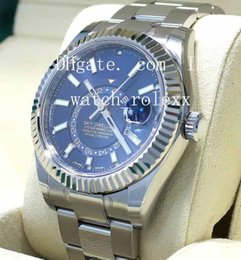 Wholesale Fold Paper Boxes - BOX PAPERS Mens High Quality Luxury AAA brands New style Blue 42mm SKY-DWELLER 326934 Stainless Steel Mechanical Automatic Wristwatches