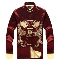 Wholesale Traditional Suit Collars - Wholesale- Long-sleeved double-sided tangzhuang traditional Chinese soup suits autumn stuffy senior silk embroidered shirts