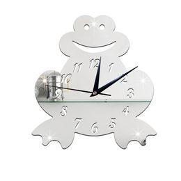 Wholesale Kids Sticker Wall Clock - 2016 Fashion 3D Crystal Wall Clock Modern Design Stickers Cartoon Art Frog Clock Stickers Mirror Kids Bedroom Sticker