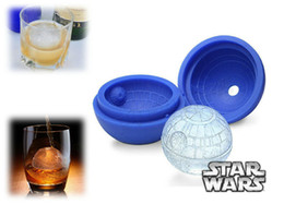 Wholesale Ice Ball Sphere Maker - 2016 Hot Creative Silicone Blue Wars Death Star Round Ball Ice Cube Mold Tray Desert Sphere Mould DIY Cocktail Forma De Gelo