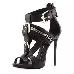 Wholesale Trendy Platform Heels - 2016 new 34-46 fashion autumn platform high heels zip buckle sandals woman sexy sandals party shoes trendy open toe sandals free shipping