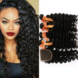 Wholesale Deep Curl Lace Closure - Peruvian Hair Bundles With Lace Closure,1 pc Lace Closure with 4Pcs Hair Bundles,Deep Wave Curl Vrigin Hair Bundles