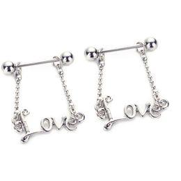 Wholesale dangling rings - free shipping 5pcs lot Love Dangle Piercing Shields Bars 14G Surgical Steel Piercing Nipple Piercing for Women Couple Body Piercing
