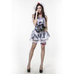 Wholesale Halloween Sexy Womens Costumes - Halloween Ghost Bride Sexy Vampire dress Love patch Witch Zombie Dress Adult Womens Cosplay Party Themed Costume
