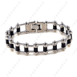 "Wholesale Black Diamond Bar - 2017 Hot Men Black Rubber Silver Chain Link Mens Stainless Steel Bracelet Bangle 8.5"" Jewelry Free Ship"