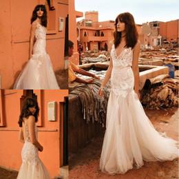 liz martinez vestidos de noiva Desconto Ilusão Bodice Bohemian sereia vestidos de casamento 2018 Liz Martinez Backless nupcial Lace Appliqued vestidos de casamento de capela de trem