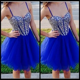 Wholesale Short Ball Gowns For Prom - Sparkly Rhinestone Corset Homecoming Dress For Girls Party 2017 Royal Blue Tulle Prom Dress Short Graduation Gowns Ball Gowns