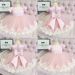 Wholesale Sleeveless T Shirts For Babies - Lace Applique Flower Girl Dresses For Weddings 2017 Kids Pageant Sleeveless Backless Ankle Length Tulle Pink Baby Toddler Communion Dresses