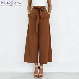 Wholesale Woman Capris - 2017 Fashion Women Elastic High Waist Wide Leg Pants OL Casual Loose Palazzo Pants Black Ladies Trousers S-XL Pantalon Femme FS3006
