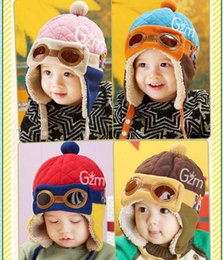 Wholesale Winter Earflap Baby Hats Red - Baby Kids New Ear Muffs Infant Pilot Cap Warm Toddler Children Aviator Earflap Hat for Winter New Fashion Red Blue Pink Coffee Color