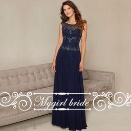 Wholesale Elegant Bateau Neck Line - Scoop Cap Sleeve Beaded Chiffon A-Line Navy Blue Long Mother of the Bride Dresses Elegant Fashion Brilliant 2016 Party Evening Gowns