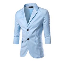 Wholesale Three Quarter Sleeve Suit Jacket - 2016 New M-2XL Solid Color Two Button Three Quarter Sleeve Mens Blazer Jacket Causal Slim Fit Suit Fashion Blazer Men PSX25
