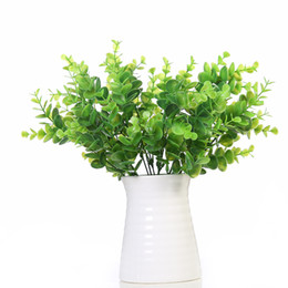 Wholesale Artificial Hanging Baskets - Artificial Shrub with Stems in Green Faux Plastic Eucalyptus Leaves Bushes Fake Simulation Greenery Plants Pack of 10