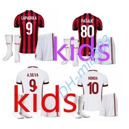 Wholesale Best Shirt Breathable - Best quality 2017 2018 AC MILAN soccer jerseys Kids kit 17 18 youth BONUCCI MENEZ BACCA KAKA SUSO home away football uniform jersey shirts