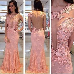 Wholesale Evening Dresses Crystal Stones - Pink Lace Evening Gowns Beading Short Sleeves 2016 See through Prom Dresses Mermaid Rhine Stones Evening Dresses Formal Gowns Prom Party