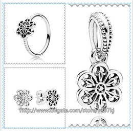 Wholesale Daisies Pendant Necklace - 925 Sterling Silver Ring & Earrings and Jewelry Charms Pendant Sets with Box Fits European Jewelry Bracelets & Necklaces- Floral Daisy