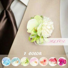 Wholesale White Butterfly Wedding Decor - 2015 Handmade Artificial Butterfly Orchid Corsage Wedding Church Decor Bride Wrist Flower