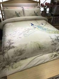 Wholesale Water Bedspread - Hot sale 2017 Home textile bedding-set Water ink stereoscopic printing Peacock bed set new style duvet cover bedspreads 4pcs set queen