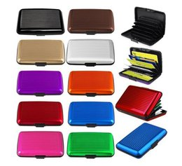 Wholesale Id Card Holder Waterproof - Aluminum Business ID Credit Card Wallet Waterproof RFID Card Holder Pocket Case Box Worldwide Fast Shipping