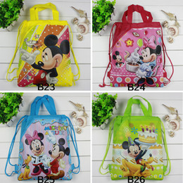 Wholesale Cartoon Style Design - Wholesale-2016 hot Mickey Mouse & Minnie Cartoon Drawstring Backpack Kids School Bags children beach backpacks Mixed Designs Kids Party Gift