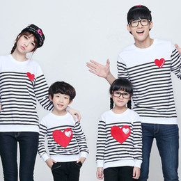 Wholesale Mom Son Outfits - Autumn winter cotton Striped Love Heart mother daughter son father mom clothes family matching outfits clothing sets FM001