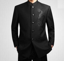 Trajes de hombre negro china online-Venta caliente Traje de la túnica chino negro de los hombres Trajes del collar del soporte tradicional Traje del líder de Apec Traje de Totem del dragón del bordado de los hombres
