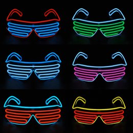 Wholesale El Neon - New LED EL Wire neon Flashing Glasses for christmas Birthday Halloween neon party Costume party decoration supplies Fashionable glasses