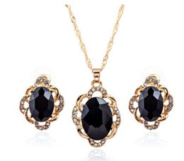 Wholesale Gold Blue Gem Earring - hot sale alloy OVAL blue black gem stone gold earrings necklace sets jelwery sets with rhinestone fashion personality jelwery free shipping