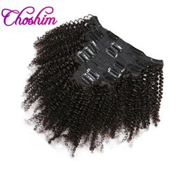 Wholesale Remy Clip Ins - Choshim Mongolian Afro Kinky Curly Clip in Human Hair Extensions Natural Color Remy Hair Clip Ins 8Pcs Set Free Shipping by KL Hair
