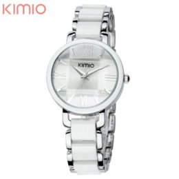 Wholesale Korean Ceramic Watch - Kimio Watch Women Roman Number Korean Fashion Stainless Steel White Ceramics Casual Wrist Watch Cheap watch camara