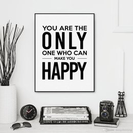 Wholesale Pictures Happy - Nordic Minimalist Inspirational Typography Happy Quote A4 Art Print Poster Wall Picture Canvas Painting Home Decoration No Frame