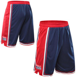Wholesale Mesh Sport Short Pants - USA Basketball Shorts Men Polyester Mesh Sport Running Short Pants Homme Drawstring Gym Joggers Bermuda Surf Pantaloncini Basket