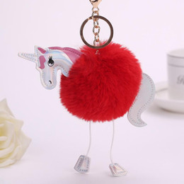 Wholesale Artificial Feathers Wholesale - Unicorn Pony Keychain Lovely Fluffy Pendant Artificial Rabbit Fur Key Chain Bag Car Key Ring Hang Bag Accessories FREE SHIPPING