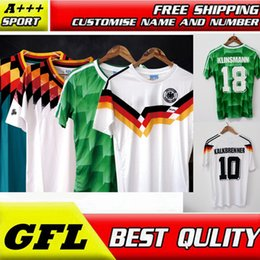 Wholesale Germany Away - retro soccer jersey 1988 1990 1994 germany retro soccer jersey football shirthome away top thai 3AAA customzied name number soccer uniforms