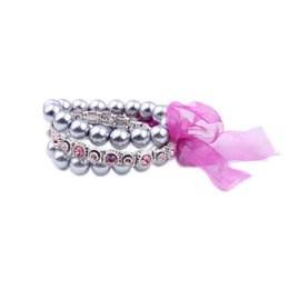 Wholesale Resin Cupcakes - 2016 Milti Row Crystal Cupcake Bracelet Beaded Pearl Bracelets Knotted Pink Voile Ribbon Charm for Lady Free Shipping