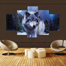 Wholesale Painting Thick - 5 Pcs Set Lonely Wolf Picture Canvas Print Painting Wall Art for Wall Decor Home Decoration Artwork DH011