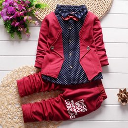 Wholesale Three Month Baby Outfit - Spring autumn children clothing set 2016 new fashion baby boys tide shirt fake three-pieces clothes suit kids boys outfits suit