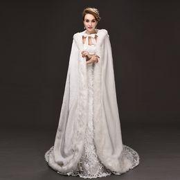 Wholesale Womens Hooded Fur Cape - Jane Vini Winter Wedding Faux Fur Bridal Cloak Warm Shoulder Wraps Hooded Jacket For Weddings Womens Fur Cape Bolero Jacket 2018