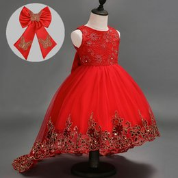 Wholesale Colors Gowns - Baby Girls Dress Short Sleeve Tutu Lace Bow Princess Dresses Kids Dancing Wedding Floor-Length Dress Girl Party Princess Dress 3 Colors