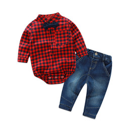 Wholesale Handsome Baby Boys - Toddler kids outfits Baby boys plaid bow tie lapel rompers+denim pants 2pcs Autumn sets Infants handsome clothing C2145