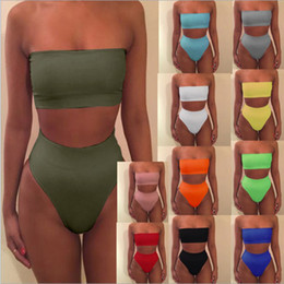 Wholesale Tankinis Suits - Solid color tube top two pieces women swimsuit sexy swimwear women mid waist girls bikini set female swimming set bathing suit