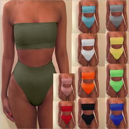 Wholesale Women Tankinis - Solid color tube top two pieces women swimsuit sexy swimwear women mid waist girls bikini set female swimming set bathing suit