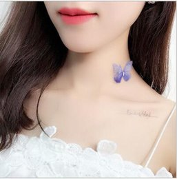 Wholesale violet lines - New Design Net Butterfly Stealth Fishing Line All-Match Violet Flowers Choker Clavicle Necklace Chain For Bridal Womens Girls