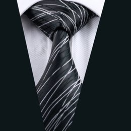 Wholesale Mens Silk Cravats - New Arrivial Black Mens Ties White And Black Stripes Casual Activity Cheap Neck Ties Classic Normal Woven Cravat D-1171