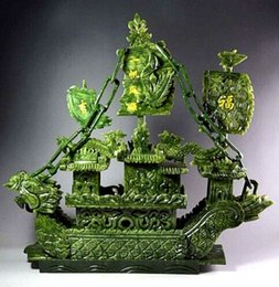 Wholesale Natural Gemstone Carving - Large Chinese Hand Carved 100% Natural Jade Dragon Incense statue Dragon Boat